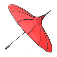 Red & Polka Dot Trim Pagoda Umbrella - Unique Vintage - Prom dresses, retro dresses, retro swimsuits.
