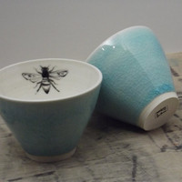 Porcelain Blue Bee Tea Cups by FaithAdamsCeramics on Etsy