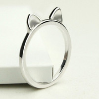Kawaii Japanese Lucky Cat Ears Sterling Silver Ring,Maneki Neko Engraved Animal Ring,Korean Style Smiling Cat Ears Ring