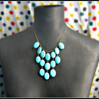 turquoise bib necklace large necklace unique by alapopjewelry