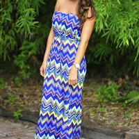 Cheers To Chevron Maxi Dress: Multi | Hope's