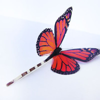 Butterfly hair clip Orange Monarch Bobby pin by KandyDisenos