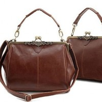 Vintage Style Kiss Lock PU Leather Fashionable Handle Shoulder Bag Satchel Purse Hobo Handbag Office Tote Classic Oversized High Quality Women/Girl Fashion Work School Office Lady Student Brown:Amazon:Clothing