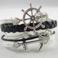 Nautical Rudder Anchor Bracelet Vintage Silver Infinity White Leather Rope Knit:Amazon:Everything Else