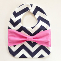 Chevron Bow Baby/Toddler Bib, Navy Blue Chevron, Pink Bow, Chevron Bow Bib