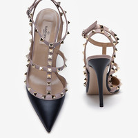 Valentino Rockstud Slingback Stiletto: Black-Evening-Shoes-Categories- IntermixOnline.com