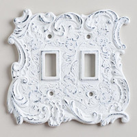 White Cast Iron Double Switch Plate - World Market