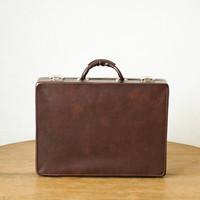 Vintage Suitcase  Dark Brown Retro Case