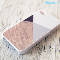 iphone 4 case  grey color block with printed wood