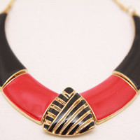 Statement Black and Red Enamel Necklace by babushkajewelry on Etsy