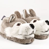 Wolf Animal Slippers | Animal Slippers | BunnySlippers.com