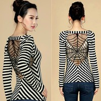 A 091014 Striped t-shirt back hollow lace