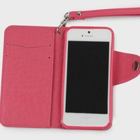 Candy Color Book Book Cover Purse Style Case for iPhone 5 (pink)