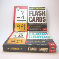Vintage Flash Cards, Addition and Subtraction by ED-U-CARDS, Great educational game, Set of 2