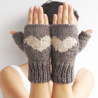 Valentines Day Fingerless Gloves - Mittens Brown - Ecru