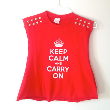 Studded Keep Calm & Carry On tank crop top