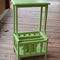 Vintage Shabby Chic Wood Table Green Recycle Upcycle