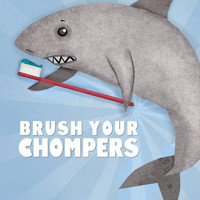 Brush Your Teeth Print Cute Shark Art For by thedreamygiraffe