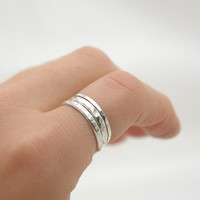 Simple Sterling Silver Stack Band Ring Set of Three - Simple Everyday Jewelry - Modern Minimal