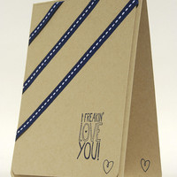 Fun Sentiment Of Love On This Handmade Love You Card Brown And Navy