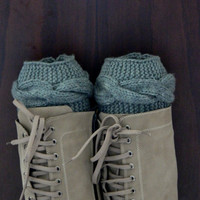 Grey Boot cuffs - Gray Leg Warmers - Cable knit boot toppers - Winter Fashion - Cozy legwarmers - Winter Acessory,Legwear