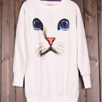 White Cat Face Crewneck