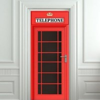 "Door wall sticker London Telephone Box self-adhesive sticker, mural, decole, film 30x79"" (77x200 Cm):Amazon:Home & Kitchen"