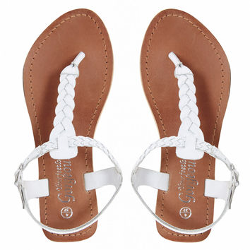 New Look   New Look Gladice White Woven Leather Flat Sandals at ASOS