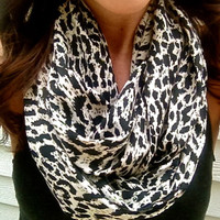 Spotted Scarf- Fall Infinity Scarf with Black and Cream Animal Print