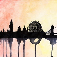 London Watercolour Skyline Art Print by Paint The Moment