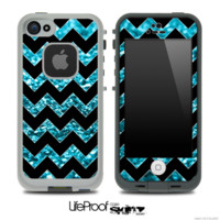 Black Chevron Turquoise Blue Glimmer Skin for the iPhone 5 or 4/4s LifeProof Case - iPhone