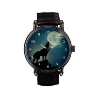 Re-Do - Blue Moon, Full Moon Howling Wolf Custom Watch