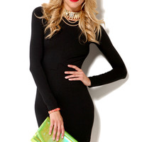 Six Crisp Days Long Sleeve Knit Mini Dress in Black