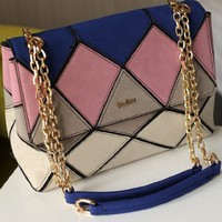 Fashion Ladies Suede Leather Colorblocked Satchel Bag for Women Pink