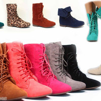 Women's Fashion Low Flat Heel Xoford Lace Up Round Toe Boot Shoes 5 Colors NEW