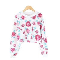 Vintage Villatic Floral Print Casual Sweatshirt for Women