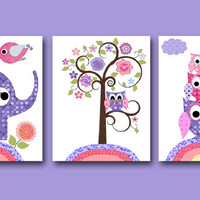 Owl Decor Owl nursery Baby Girl Nursery Art Nursery wall art baby nursery kid room decor Kid Art set of 3 11x14 elephant nursery rose purple