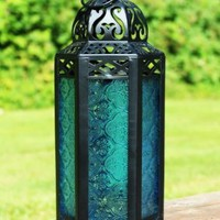 Mid Size Table/hanging Blue Hexagon Moroccan Candle Lantern Holders
