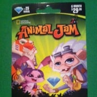 National Geographic Animal Jam Online Game Card - 25 Diamonds - 6 Month Membership - Kangaroo, Arctic Wolf, Snow Leopard or Lion