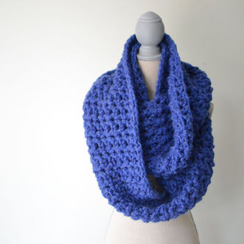 Blueberry Crochet Infinity Scarf - READY TO SHIP - Chunky crochet scarf