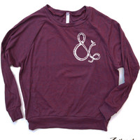 Womens AMPERSAND Tri-Blend Pullover - american apparel S M L (5 Color Options)