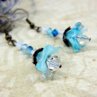 Baby blue glass flowers Swarovski blue white crystals earrings nature