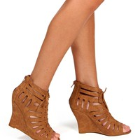 Cognac Lace Up Cutout Wedges
