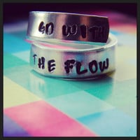 Go with the flow spiral hand stamped ring