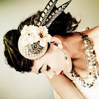Bridal Fascinator Hat - Bronze, Cream-Beige Flowers and Feathers - ARC DE TRIOMPHE