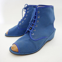 Vintage shoes blue canvas open toe/heel 70s wedge ankle by nemres