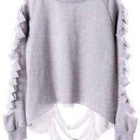ROMWE | Cut-out Broken Grey Sweatshirt, The Latest Street Fashion