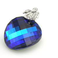 Crystal Pendant Bermuda Blue Twist Sterling Silver Necklace