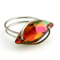 Wire Wrap Button Ring Swarovski Elements Diamond Leaf Red Magma