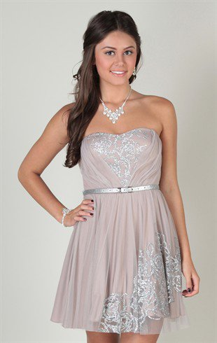Glitter Strapless Short Dress with Pleated Bodice and A-line Skirt